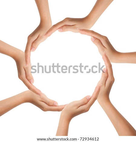 Multiracial human hands making a circle with Copy Space