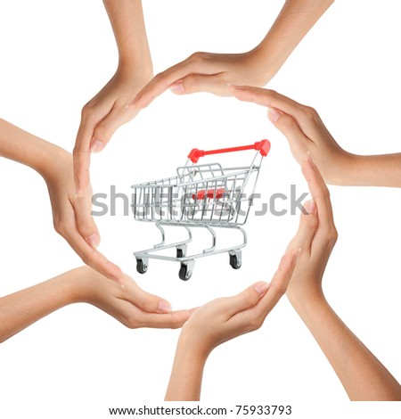 Multiracial human hands making a circle with Copy Space and shopping cart