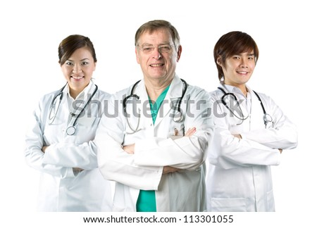 Multiracial team of doctors wearing a white coats with stethoscope's. Isolated on white. - stock photo