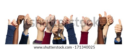 Multiracial Thumbs Up on White Background - stock photo