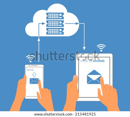 Multiscreen interaction. E-mail synchronization of smartphone and tablet pc via cloud server. - stock photo