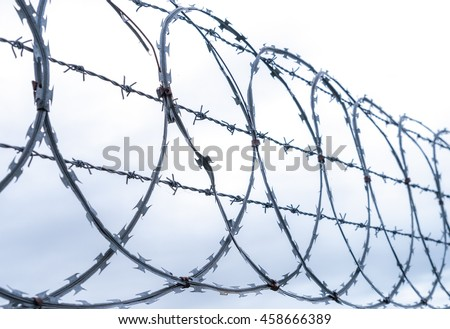 Multistrand Coiled razor and barbed wire fence - stock photo