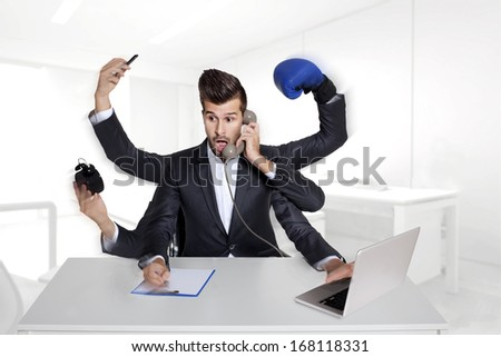 multitasking business man with six arms