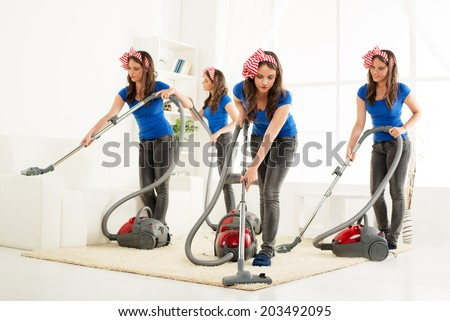 Multitasking young beautiful maid cleaning the house. Same person in many position... - stock photo
