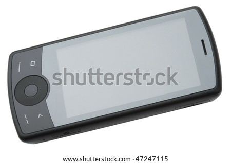 Multitouch smartphone isolated on white - stock photo