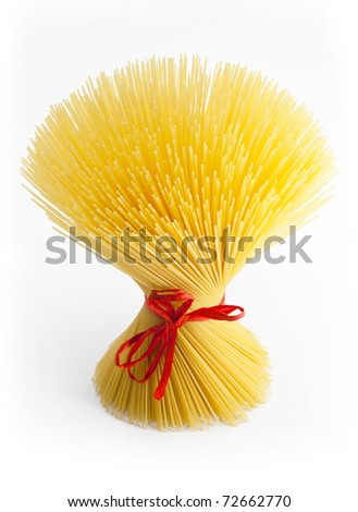 Multitude of spaghetti, regarding the red ribbon on white background.