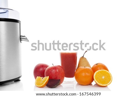 Multivitamin juice. Juicing background with copy space. Fresh apples, oranges, glass with juice and silver juicer isolated on white background. Healthy fruit eating and drinking. - stock photo