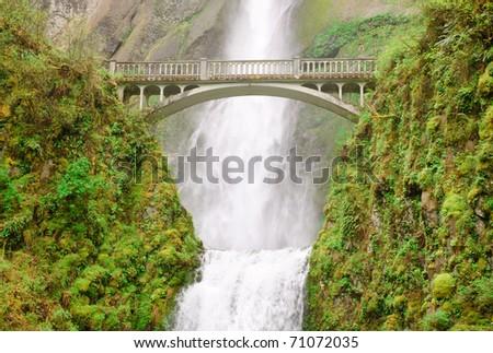 Multnomah Falls and walking bridge - stock photo
