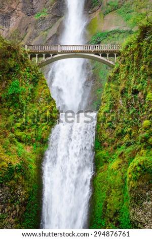 Multnomah Falls at Columbia, Columbia Gorge - stock photo