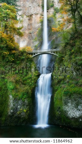 Multnomah Falls Autumn - stock photo