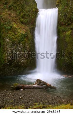 Multnomah Falls in Spring - stock photo