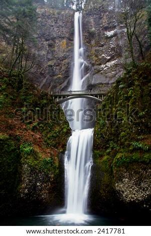 Multnomah Falls in The Columbia River Gorge Oregon - stock photo