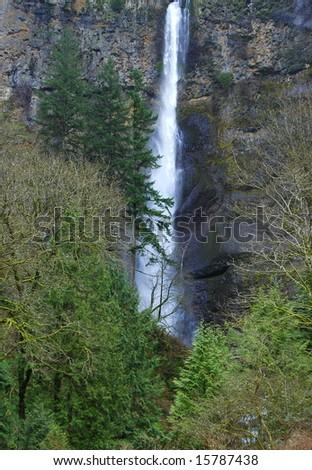 Multnomah falls in the pacific northwest. - stock photo