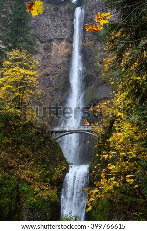 Multnomah falls Oregon, USA/Multnomah falls/Multnomah Falls on the Historic Columbia River Highway State Trail  Oregon, USA - stock photo