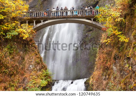 Multnomah Falls Waterfall Autumn, Fall Bridge Columbia River Gorge, Oregon, Pacific Northwest - stock photo
