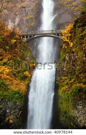 multnomah falls waterfall near Portland, Oregon. Second highest year-round waterfall in the US - stock photo