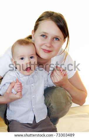 Mum and a baby - stock photo