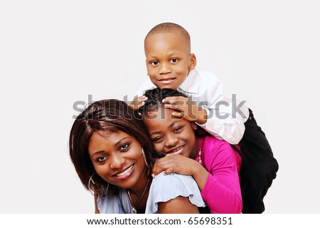 Mum and kids having family fun - stock photo