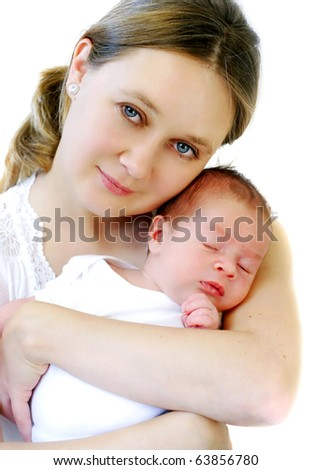 mum holding sleeping baby - stock photo