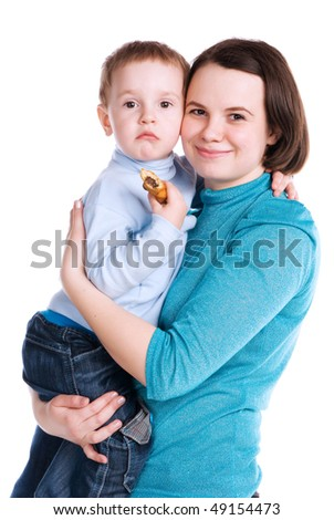 Mum holds the son on hands