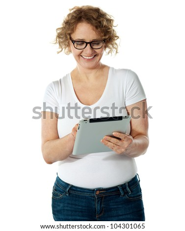 Mum using tablet pc. Isolated over white background