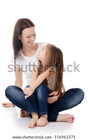 Mum with a daughter isolated on white background - stock photo