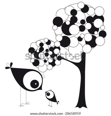 mum-with his little bird beside a tree - stock photo