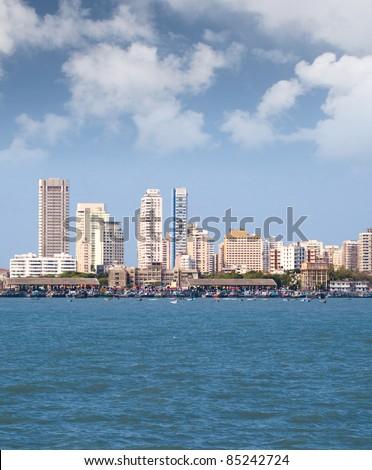 Mumbai capital of India skyline beach scene - stock photo