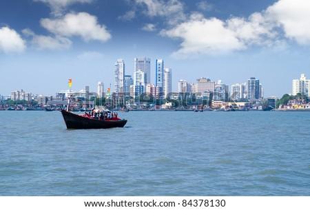 Mumbai capital of India skyline scene - stock photo