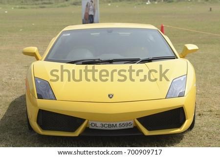 Mumbai, India   January 26,2013: Yellow Lamborghini Gallardo At Mumbai  Super Car