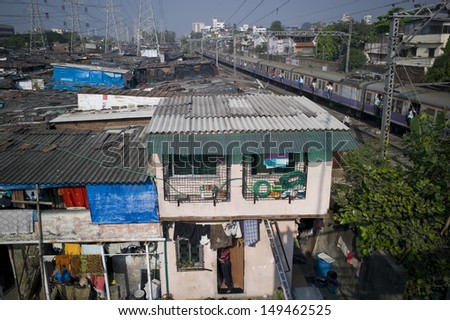mumbai india nov 13 the houses in dharavi viewed from a bridge over