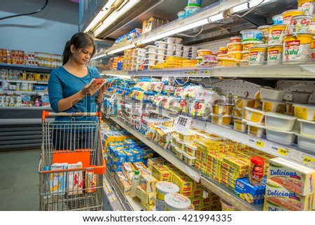 MUMBAI, INDIA - September 1, 2014: Shoppers in Big Bazaar supermarket on September 1, 2014 in Mumbai, India, Southeast, Asia. - stock photo