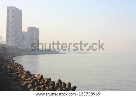 Mumbai , India ,skyline beach scene - stock photo