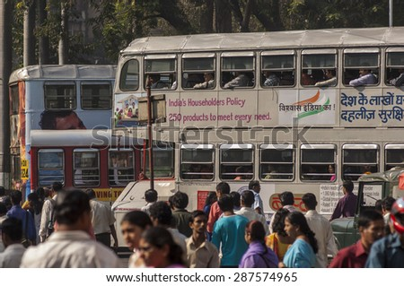 MUMBAI/INDIA 19th JANUARY 2007 - Indian commuters in the morning near Victoria Terminus - stock photo