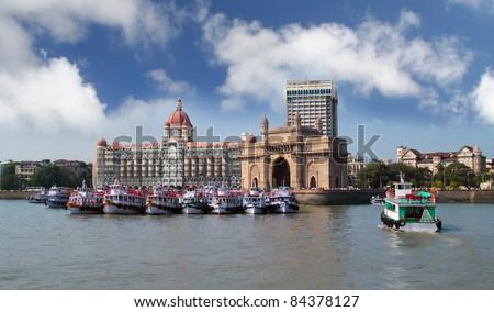 Mumbai India with Gateway and hotel - stock photo