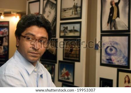 MUMBAI - JUNE 5: Raj Thackeray, the founder of Maharashtra Navnirman Sena, a political party that operates in the state of Maharashtra in India holds a press conference on June 5, 2005 in Mumbai. - stock photo