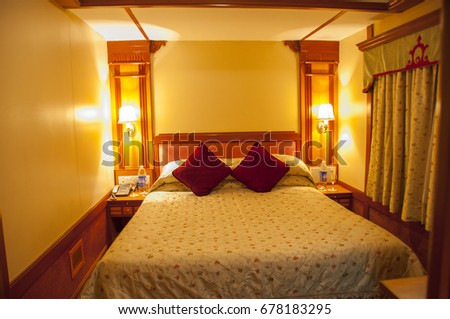 MUMBAI, MAHARASHTRA, INDIA 21 MARCH 2015 : Interiors of  Platinum Class Cabins Presidential Suites on board the Deccan Odyssey luxurious passenger train.