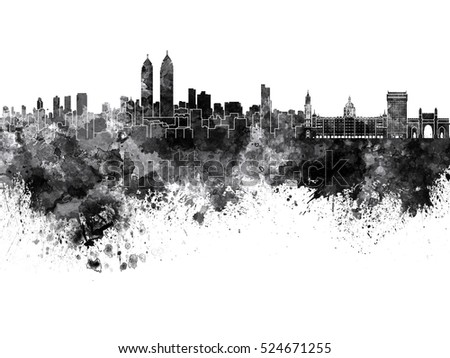 Mumbai skyline in black watercolor background