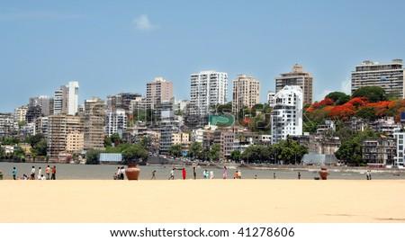 Mumbai skyline view from the beach - stock photo