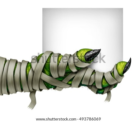 Mummy hand holding sign with a mummified creepy monster hand wrapped in old dirty bandages holding a blank card isolated on white as a symbol for a halloween costume party in a 3D illustration style.