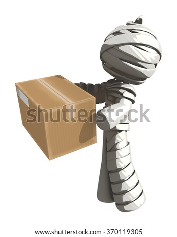 Mummy or Personal Injury Concept Handing over a Box - stock photo