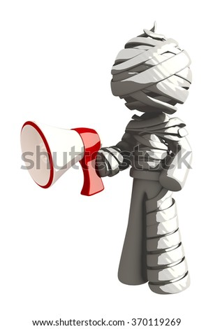 Mummy or Personal Injury Concept Holding Megaphone