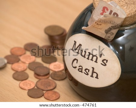 Mums cash money holder and loose change - stock photo