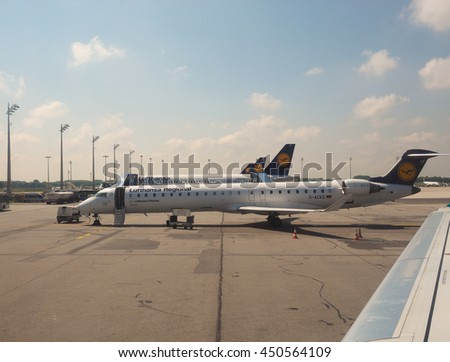 MUNCHEN, GERMANY - CIRCA JUNE 2016: Lufthansa planes on airport runway
