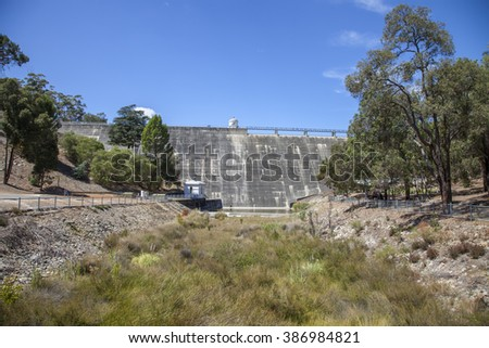 Mundaring Weir Western Australia taken below the dam at the end of summer
