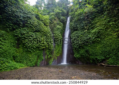Munduk waterfall in bali - stock photo