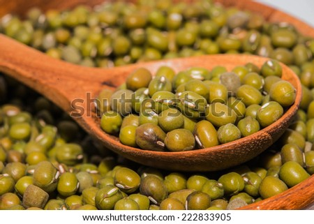 Mung bean and wood spoons - stock photo