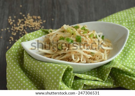 Mung bean sprouts salad with sesame seeds and spring onion