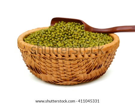 Mung beans basket isolated on white background - stock photo