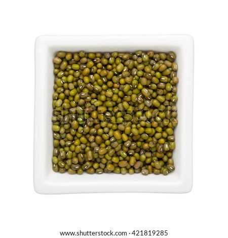 Mung beans in a square bowl isolated on white background - stock photo